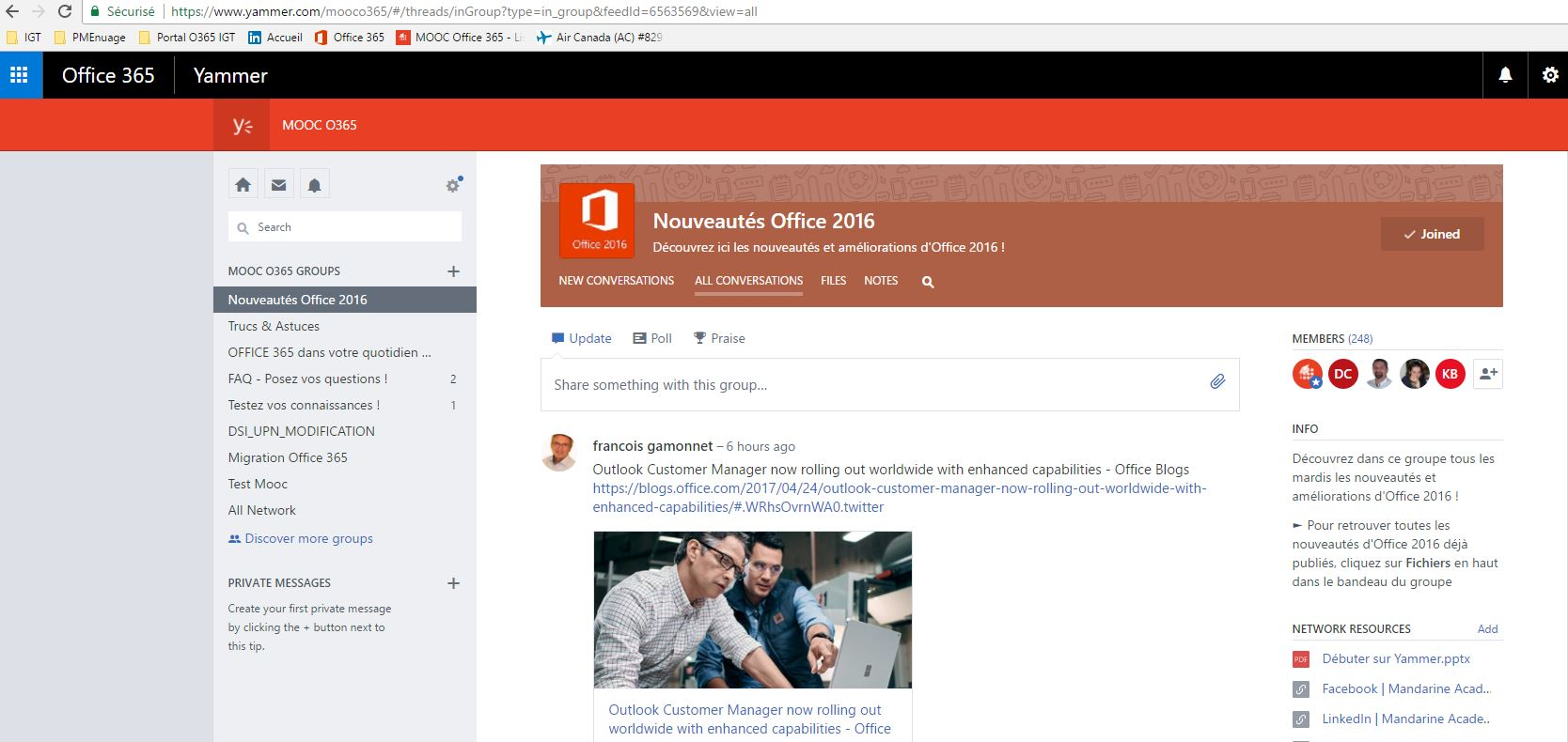 espaces collaboratifs, FAQ dédiés à MS Outlook ou Office 365
